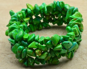 "Handcrafted Green Turquoise Howlite Stretchy Bracelet 6 1/2"" Wearable Length"