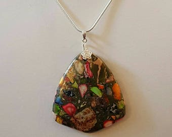 Sterling Silver and Multi Colored Rainbow Copper Turquoise Pendant Necklace