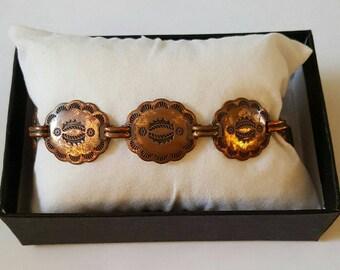 Vintage Solid Copper Concho Link Bracelet