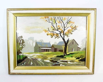 Vintage Paint By Numbers Farmhouse Scene. Circa 1950's - 1960's.