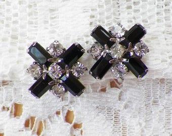 Vintage Signed Weiss Black Glass X, Clear Rhinestone Screw Back Earrings, Vintage Bride / Bridal, Glass, Rhinestones, Evening Glamour