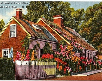 Vintage Cape Cod Postcard - The Oldest House in Provincetown (Unused)