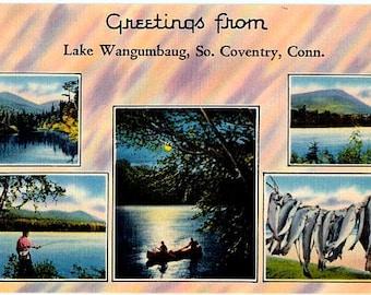 Vintage Connecticut Postcard - Greetings from Lake Wangumbaug (Unused)