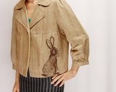 Cottontail Rabbit three-quarter-sleeve linen jacket - eco friendly screenprint, one of a kind, size womens Large