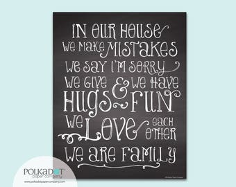 House Rules Chalkboard Style Framable Print - In Our House
