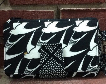 Pearl Wallet Clutch, Black and White Wallet, Cotton and Steel Black and White
