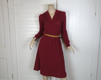 Burgundy Thermal Dress- 1980s Waffle Knit- Puffy Sleeves- Small- 80s- New Wave / Punk