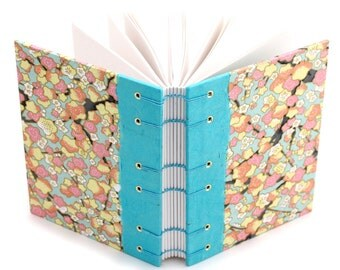 Plum Blossom Journal in Pink and Turquoise - handmade by Ruth Bleakley