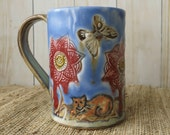 Pottery Coffee Cup Mandala Flower - Handmade Ceramic Mug - Sky Blue and Red - Butterflies - Cat - 927