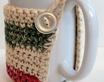 Crochet Mug Cozy in Country Christmas Colors for the Coffee Lover and Tea Lover