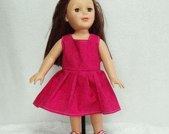 "B2G1F 18 inch Doll Dresses sale! Pink Rose dress for 18"" fashion dolls, Sleeveless, ruffled doll's dress, rose print cotton doll dress, d1"