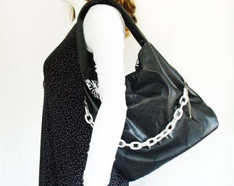 Black Faux Leather Handbag with chain link accent, medium black leather-look shoulder bag, black slouchy hobo with chunky silver chain
