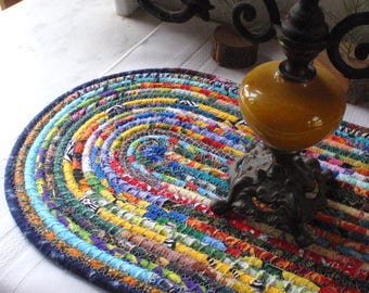 Bohemian Coiled Multicolored Mat, Hot Pad, Trivet - OVAL - Handmade by Me