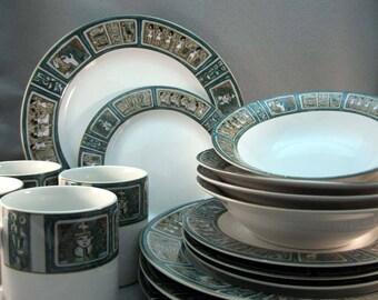 Vintage 1994 16pc Dinnerware Set Furio Egyptian Scene 4 Coffee Mugs 4 Ceramic Dinner Plates 4 Salad Plates 4 Soup Bowls