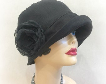 Black Linen Cloche - Black Cloche Hats - Women's Linen Cloche - Linen Hats - Flapper Hats Black - 1920's Cloche Black - Handmade in the USA
