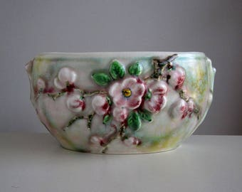 SylvaC Apple Blossom vase with removable flower arranger / Mid century English plant pot