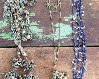 Vintage Lot Belly Dancing Necklace Lot of three Necklaces Pendant Dangles Boho