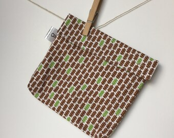 Reusable eco friendly washable Sandwich Bag - brown and green zippers