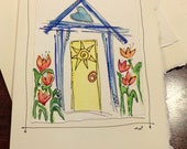 "Tulip House  Watercolor Original Strathmore Card 5"""" x 6 7/8"" & Envelope  Card Blank On The Inside betrueoriginals"