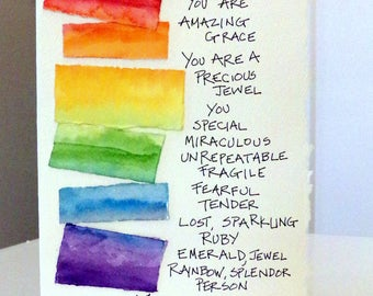 "You Are Amazing Grace.... Watercolor Original Card ""Big Card"" 5x7 With Matching Envelope Blank On The Inside  betrueoriginals"