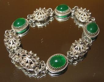 Scandinavian 830 Silver Chrysoprase Stone Bracelet Jugendstil