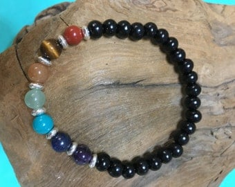 Children's 7 gemstone beaded Chakra Bracelet, Children's Balance Bracelet, Energy Bracelet for Children, with spacers and sandlewood band