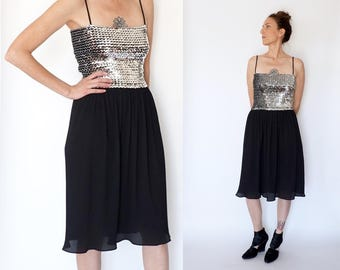 vintage 70s SILVER sequins TUBE top PARTY dress S-M