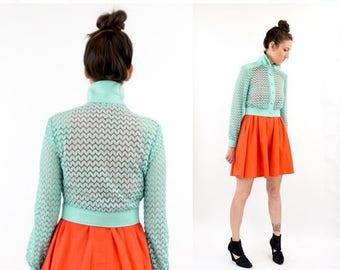 SPRING SALE vintage 60s MINT open knit Cropped jacket S-M