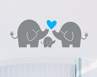 Elephant Family, Wall Decal, Elephant Wall Art, Baby Boy or Girl, Nursery Decor, Elephant Family