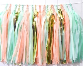 Peach Mint & Gold tassel garland // wedding//party decoration//backdrop