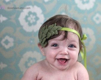 Felt baby newborn headband laurel green leaves. Flower leaf crown. Photo prop for babies and infants. bb002