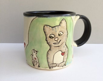 Cat and Rat Mug, BFFs, Green and Grey Coffee Mug or Tea Mug with Gray Tabby Kitty, Animal Pottery or Cat Pottery