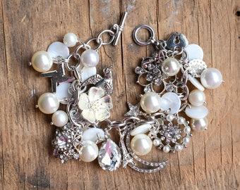 Silver Bracelet,Silver Pearl Bracelet,Silver Charm Bracelet, Mother's Day Gift, Rhinestone Bracelet,Bridal Bracelet,Shabby Chic Jewelry