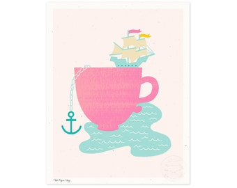 Cup of Sea Illustrated Art Print