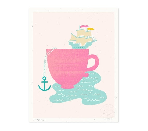 Cup of Sea Illustrated Art Print