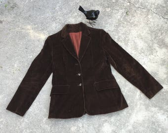 1970s Vintage Corduroy Blazer - Chocolate Brown Blazer - Classic Traditional 70s Jacket - Retro Hipster Blazer - Fall Jacket Coat - 34 Bust
