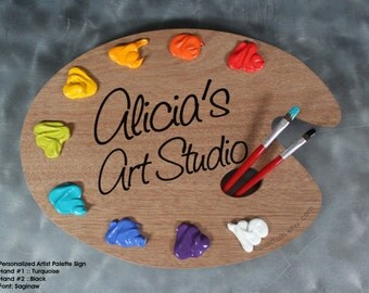 Personalized Art Palette Studio Sign or Wall Hanging with Quote or Wording of your Choice - Unique Art Studio Decor or Artist Gift