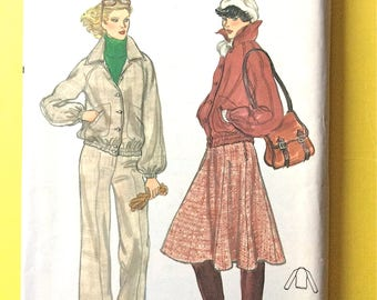 Uncut Vogue 9911 Large collar jacket, raglan sleeves, welt pockets, flared skirt, straight pants 1970s Vintage Sewing Pattern Bust 36 inches
