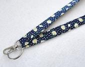 Daisy and Polk Dots on Navy Blue Fabric Lanyard ID Badge Holder Breakaway Lanyard Key Ring Fob Navy White Yellow Floral
