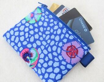 Floral Kaffe Fasset Fabric Zippered Credit Card Case Womens Card Holder Coin Purse Wallet Business Card Case Lavender Purple Cobalt Blue