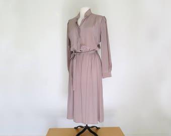 FAWN // 80s minimal 100% silk beige secretary dress