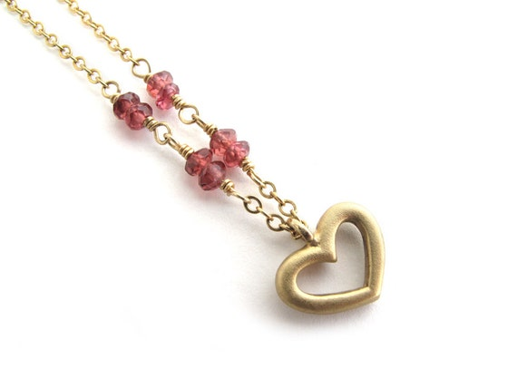 Gold Heart Necklace, Womans Valentines Necklace, Garnet Necklace, Romantic Gift Necklace, January Birthstone Necklace, Valentine Jewelry