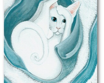 Oriental White Cat Kitten Blue White Blanket  - Art Prints by Bihrle ck432