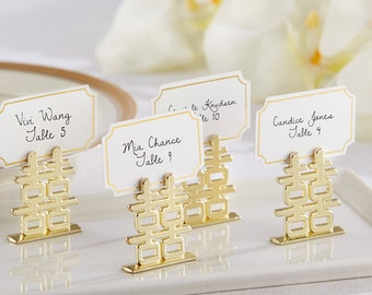 Double Happiness Place Card Holder Set of 6 Seasonal Wedding place cards table numbers  Reception Bridal shower decor