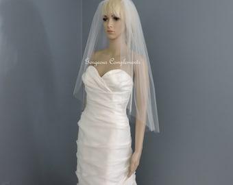 Wedding Veil Single Tier Cut Edge Hip Length Extra Fullness, Bridal Veil 33X108CE