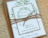 Reserved Listing for Selena - Greenery Wedding Invitation, Rustic Wedding Invitation, Watercolor Greenery Invitation, Modern Rustic Invite