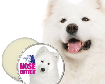 Samoyed NOSE BUTTER® Handcrafted All Natural Salve for Dry Crusty Dog Noses CHOICE: 1 oz, 2 oz or 4 oz Tin with Samoyed on Label