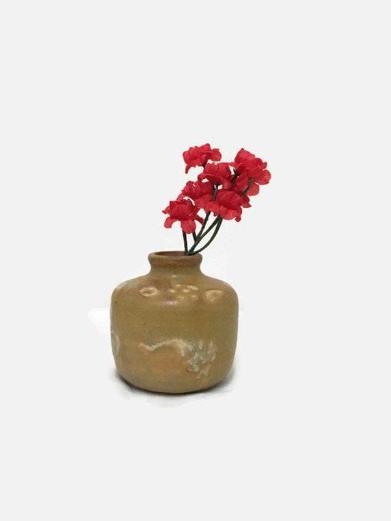 Small Stoneware Vase - Tiny Yellow Brown Ceramic Vase - Vintage