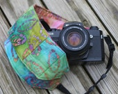 Ready to ship Monogramming not avaliable Wide Camera Strap for DSL camera turquoise, green. pink and rust with lens cap pocket