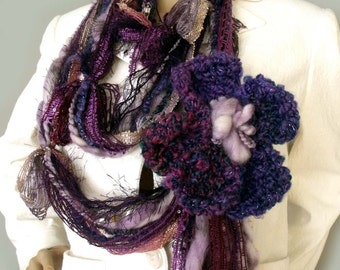 Boho scarf, Fiber art scarf, Gypsy hippie scarf, Yarn necklace, Infinity scarf, Fringe tassel scarf, Fairy scarf, Fashion trend, Etsy Gifts